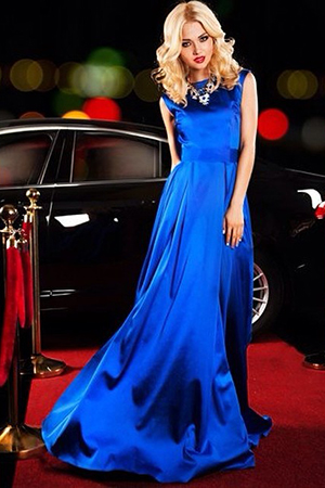 Blue Silk Elegance Evening Dress