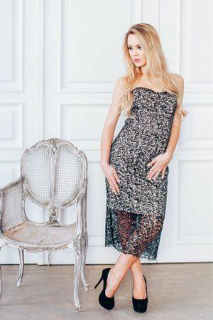 Коктейльные платья в прокат Москва Black Lace Cocktail Dress