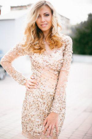 Коктейльные платья в прокат Москва Golden Cocktail Dress