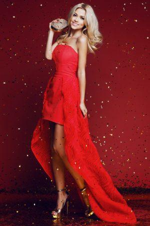 Red Short Long Evening Dress