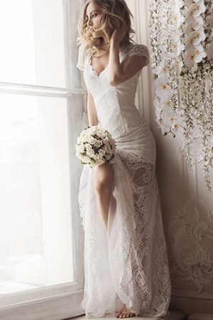 White Lace Romantic Evening Dress