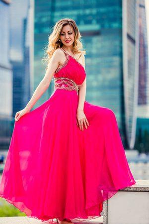 Розовое вечернее платье Jovani шелк прокат FreshDress