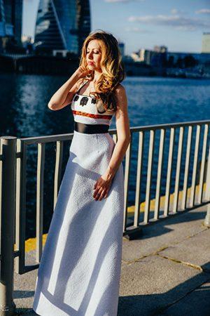 Blue Russian Designers Evening Dress