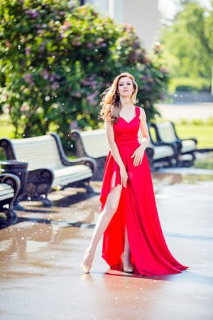 Red Silk Natural Evening Dress