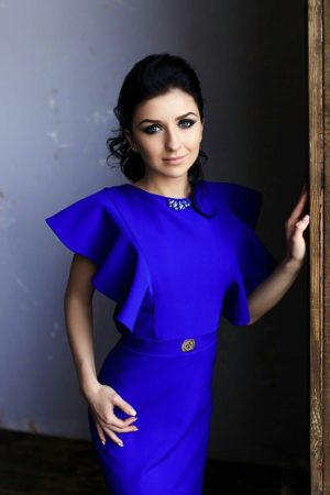 Original Bright Blue Evening Dress