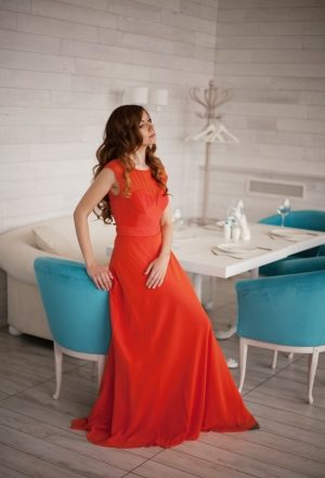 Karen Millen Orange Evening Dress