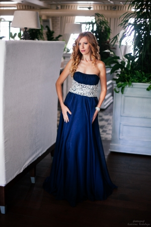 Dark Blue Luxury Jovani 6916 Evening Dress