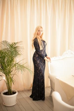 Blue Novation Lace Evening Dress