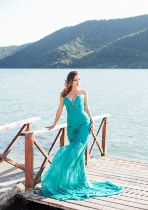 Emerald Wave Evening Dress