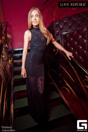 Black Lace Royal Evening Dress