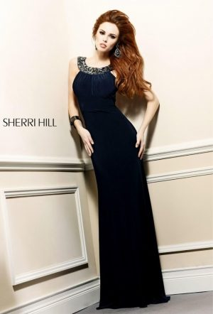 Sherri Hill Black Exclusive Formal Dress