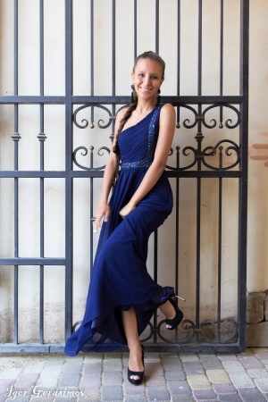 Original Dark Blue Evening Dress