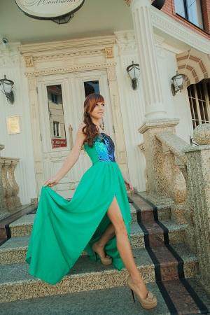 Bright Green Popular Evening Dress