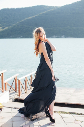 Dark Blue Waves Evening Dress