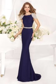 Cream Tarik Ediz 92057 Evening Dress