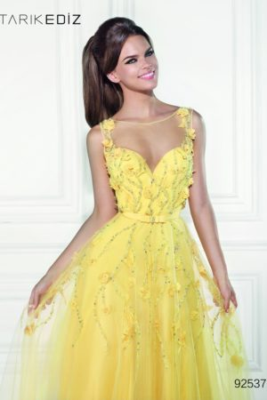 Yellow new lilac Tarik Ediz 92537 Evening Dress