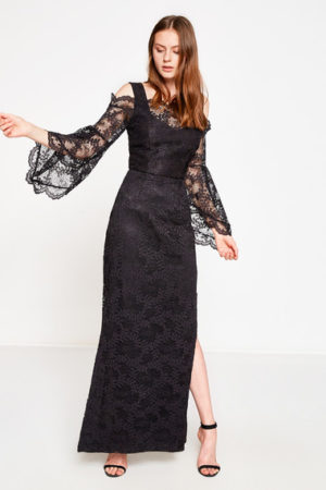 Black Lace New Design Evening Dress