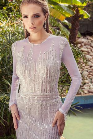 Jovani Silver Gold Evening Dress