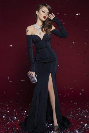 Tarik Ediz Black Crystal Evening Dress