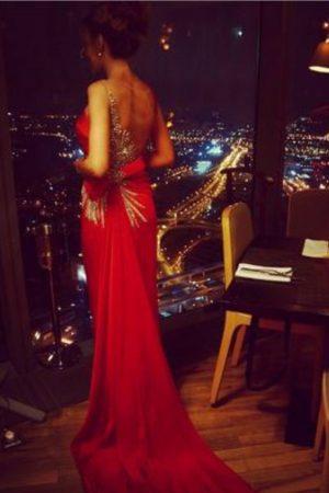 Tarik Ediz Red Royal Evening Dress
