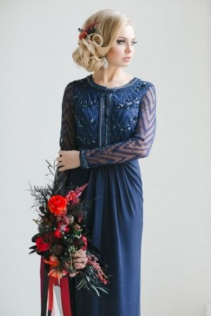 Dark Blue Elegance Evening Dress