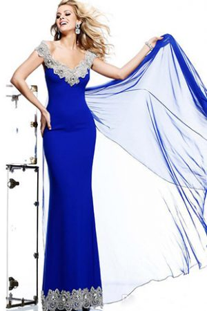 Tarik Ediz Blue Queen Evening Dress