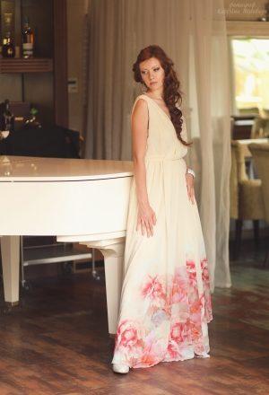 white flowers elegant evening dress