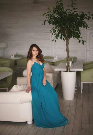 Green Easy Silk Evening Dress
