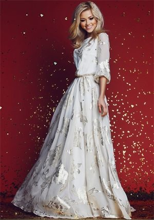 Original White Flowers Evening Dress