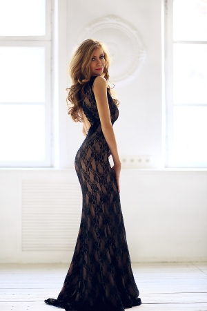 Black Lace Top Evening Dress