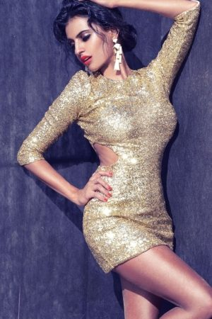 Gold Cocktail Mini Dress