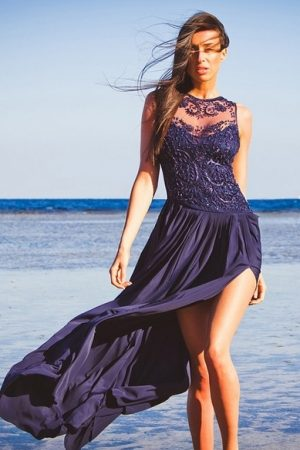 Dark Blue Serenity Evening Dress