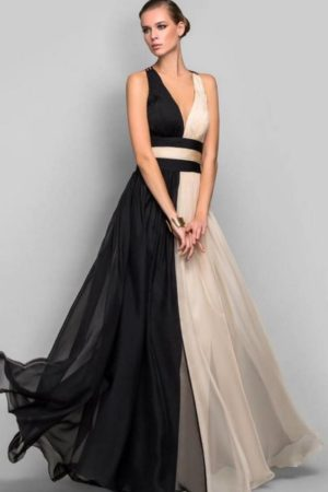 Black Beige Evening Dress